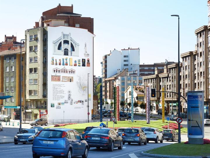"""El artista Daniel Muñoz """"San"""" ha reunido en un gran mural la cultura, los símbolos y la historia de Avilés"""